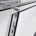 """TiltSafe"" function of the new ""Roto NX"" Tilt&Turn hardware system with a tilted window."