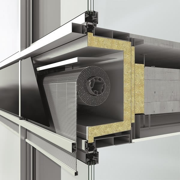Integration of CSB sun shading in the Schüco FWS 50 facade system