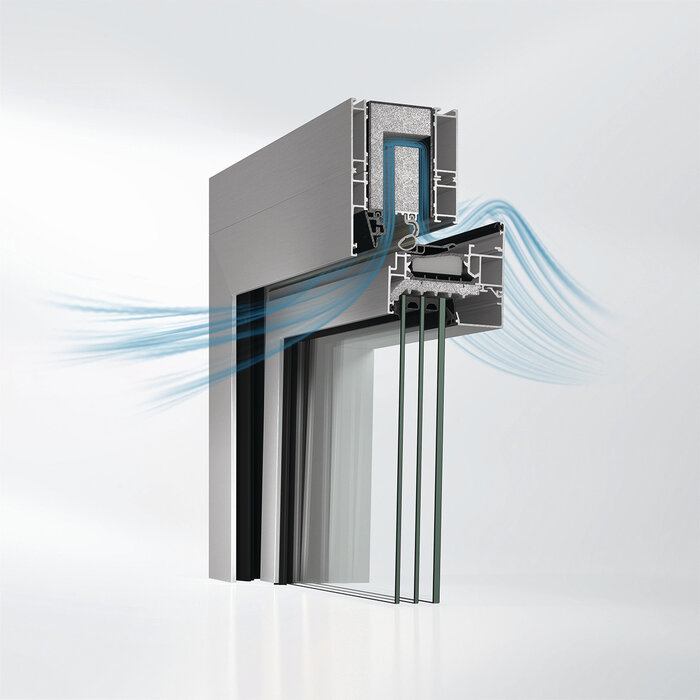 In the sound reduction tilt position, incoming external air is fed through pre-fabricated ventilation cassettes installed in the top outer frame of the Schüco AWS 90 AC.SI acoustic window. This dissipates the sound.